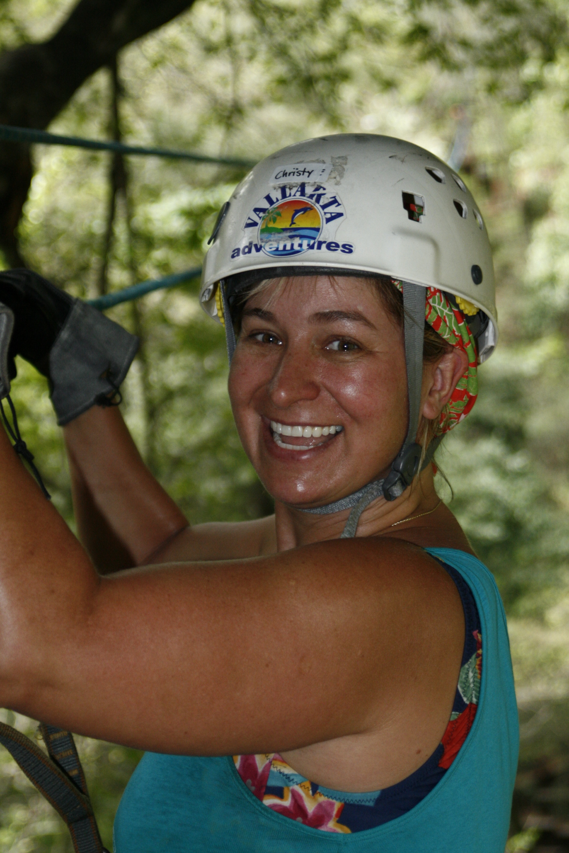 Christy Ziplining in Mazatlan, Summer 2008